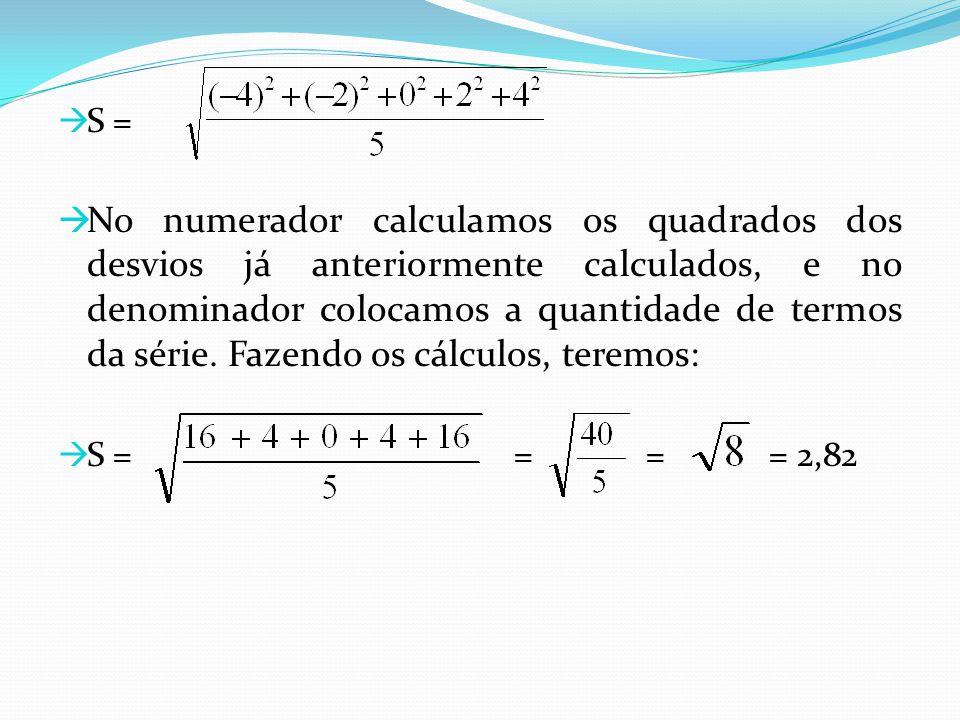 S = No numerador calculamos os quadrados dos desvios já anteriormente calculados, e no denominador colocamos a quantidade de termos da série. Fazendo