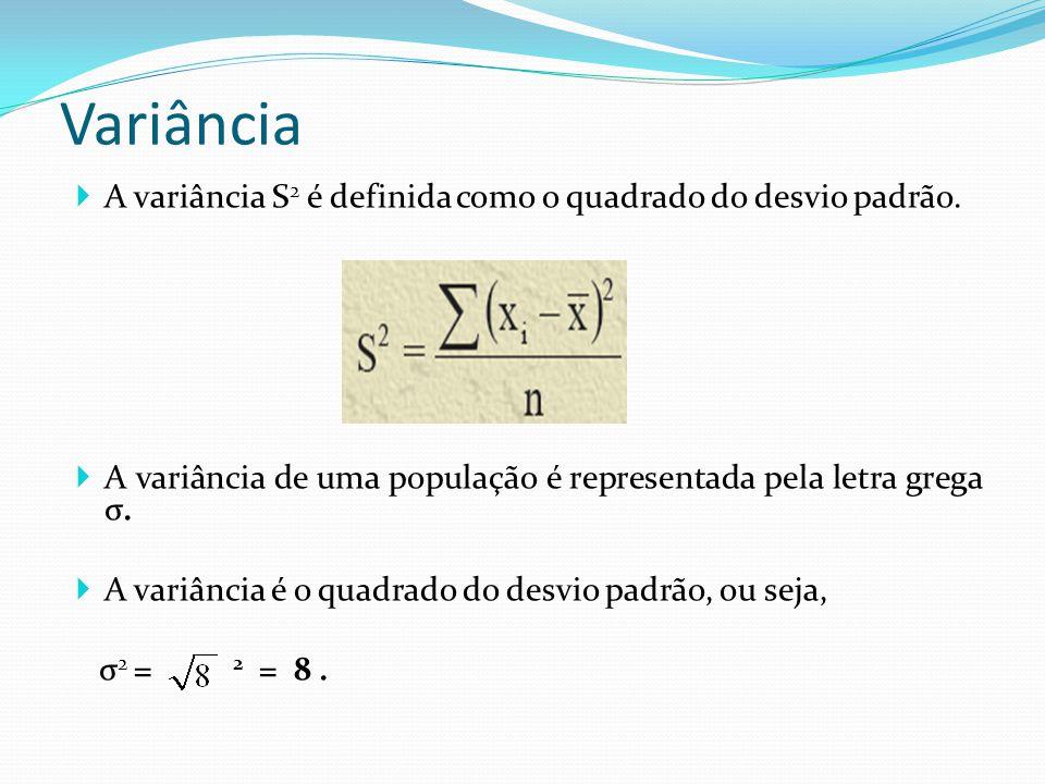Variância A variância S 2 é definida como o quadrado do desvio padrão. A variância de uma população é representada pela letra grega σ. A variância é o
