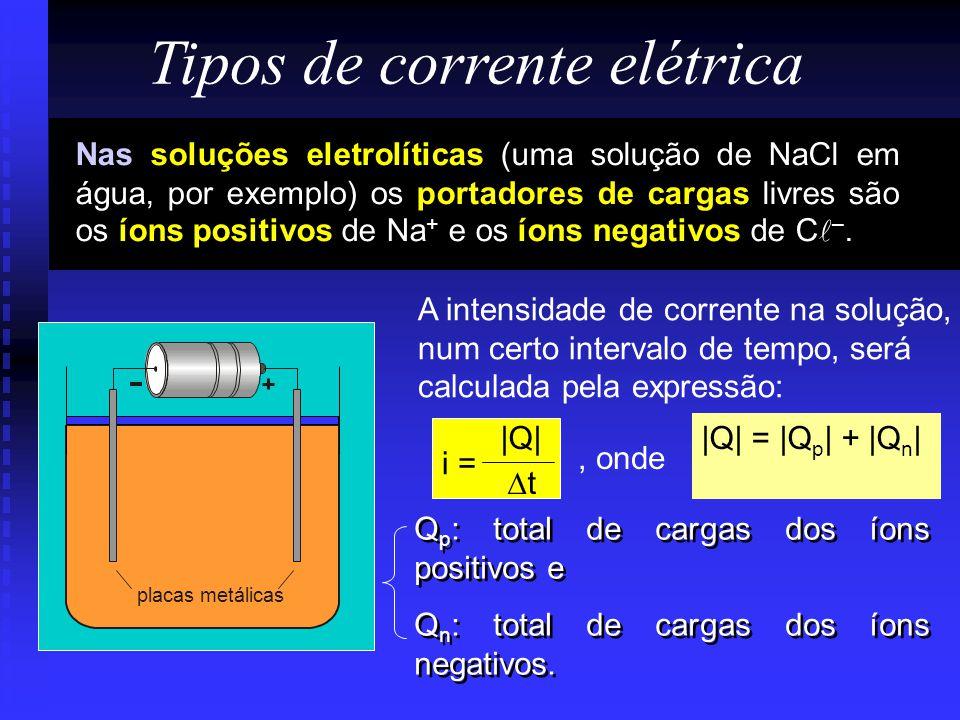 Nas soluções eletrolíticas (uma solução de NaCl em água, por exemplo) os portadores de cargas livres são os íons positivos de Na + e os íons negativos de C –.