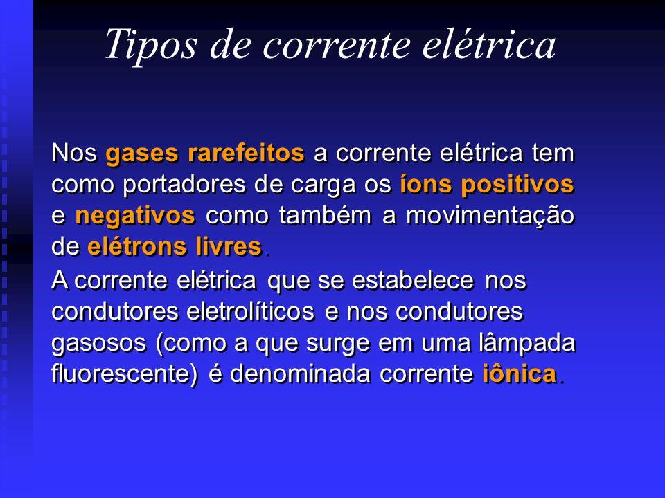 Tipos de corrente elétrica Nos gases rarefeitos a corrente elétrica tem como portadores de carga os íons positivos e negativos como também a movimentação de elétrons livres.