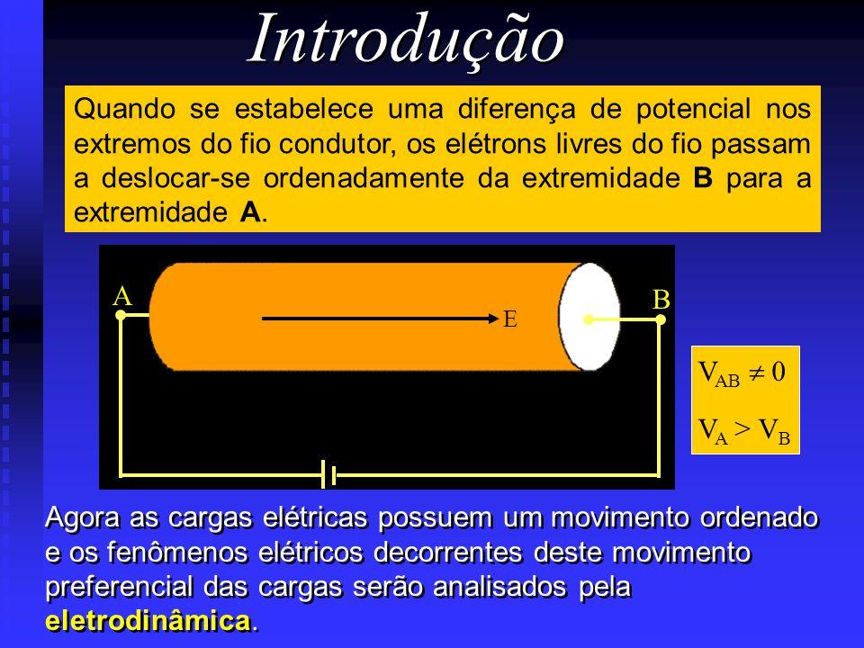 Introdução Quando se estabelece uma diferença de potencial nos extremos do fio condutor, os elétrons livres do fio passam a deslocar-se ordenadamente da extremidade B para a extremidade A.