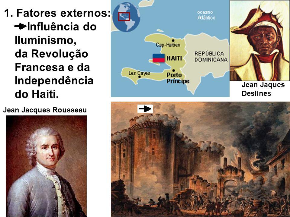 1. Fatores externos: Influência do Iluminismo, da Revolução Francesa e da Independência do Haiti. Jean Jacques Rousseau Jean Jaques Deslines