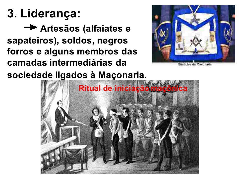 3. Liderança: Artesãos (alfaiates e sapateiros), soldos, negros forros e alguns membros das camadas intermediárias da sociedade ligados à Maçonaria. R