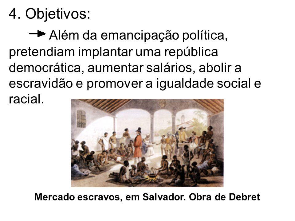 4. Objetivos: Além da emancipação política, pretendiam implantar uma república democrática, aumentar salários, abolir a escravidão e promover a iguald