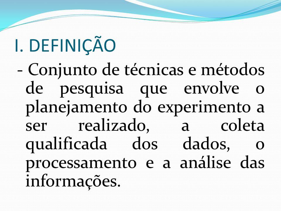 I. DEFINIÇÃO - Conjunto de técnicas e métodos de pesquisa que envolve o planejamento do experimento a ser realizado, a coleta qualificada dos dados, o
