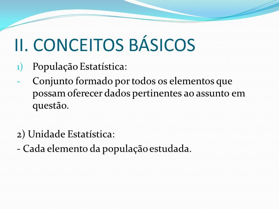 II. CONCEITOS BÁSICOS 1) População Estatística: - Conjunto formado por todos os elementos que possam oferecer dados pertinentes ao assunto em questão.