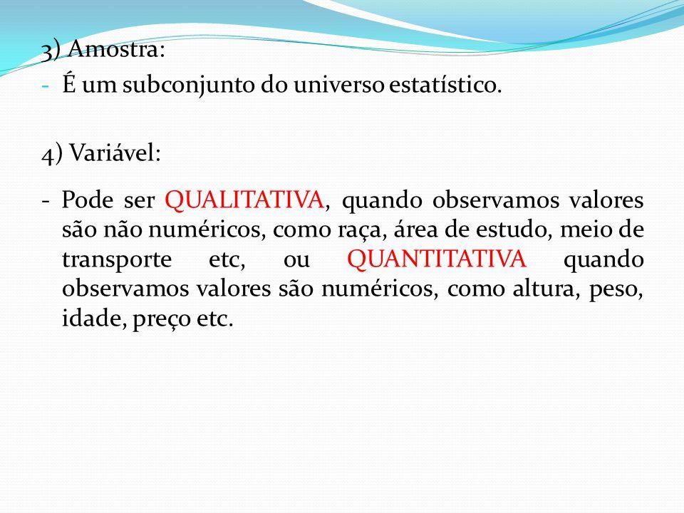 3) Amostra: - É um subconjunto do universo estatístico.