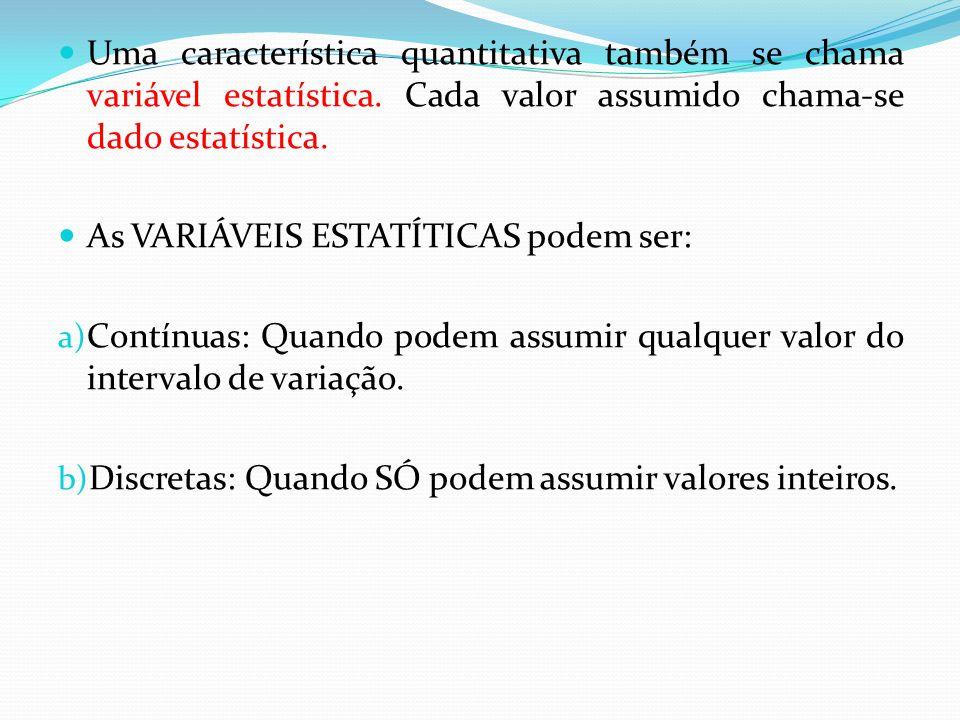 Uma característica quantitativa também se chama variável estatística.
