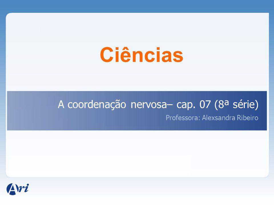 Ciências A coordenação nervosa– cap. 07 (8ª série) Professora: Alexsandra Ribeiro