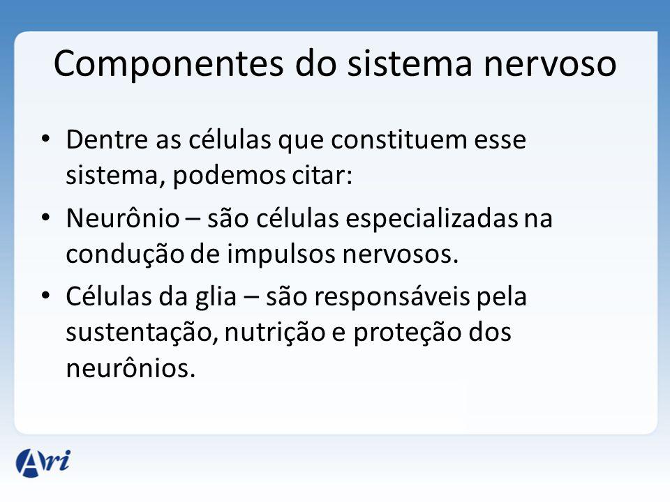 Componentes do sistema nervoso Dentre as células que constituem esse sistema, podemos citar: Neurônio – são células especializadas na condução de impulsos nervosos.