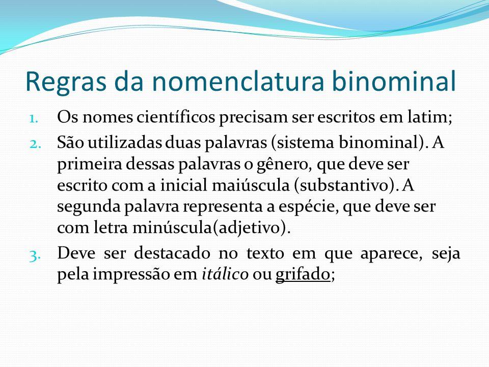 Regras da nomenclatura binominal 1.Os nomes científicos precisam ser escritos em latim; 2.