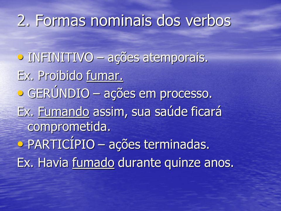 2. Formas nominais dos verbos INFINITIVO – ações atemporais. INFINITIVO – ações atemporais. Ex. Proibido fumar. GERÚNDIO – ações em processo. GERÚNDIO
