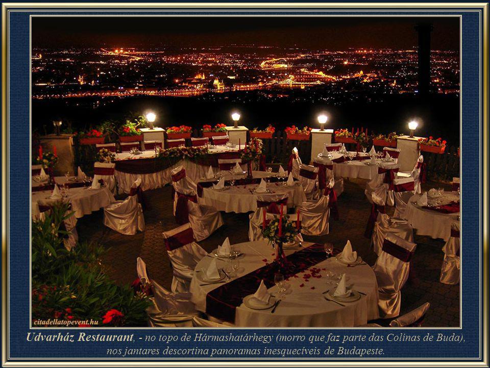 Udvarház Restaurant – almoço – requinte, gastronomia, vista aprazível e ainda ar livre.