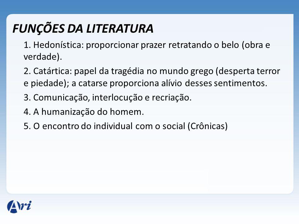 FUNÇÕES DA LITERATURA 1. Hedonística: proporcionar prazer retratando o belo (obra e verdade). 2. Catártica: papel da tragédia no mundo grego (desperta