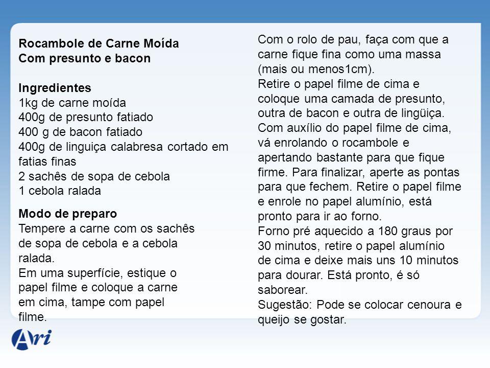Rocambole de Carne Moída Com presunto e bacon Ingredientes 1kg de carne moída 400g de presunto fatiado 400 g de bacon fatiado 400g de linguiça calabre