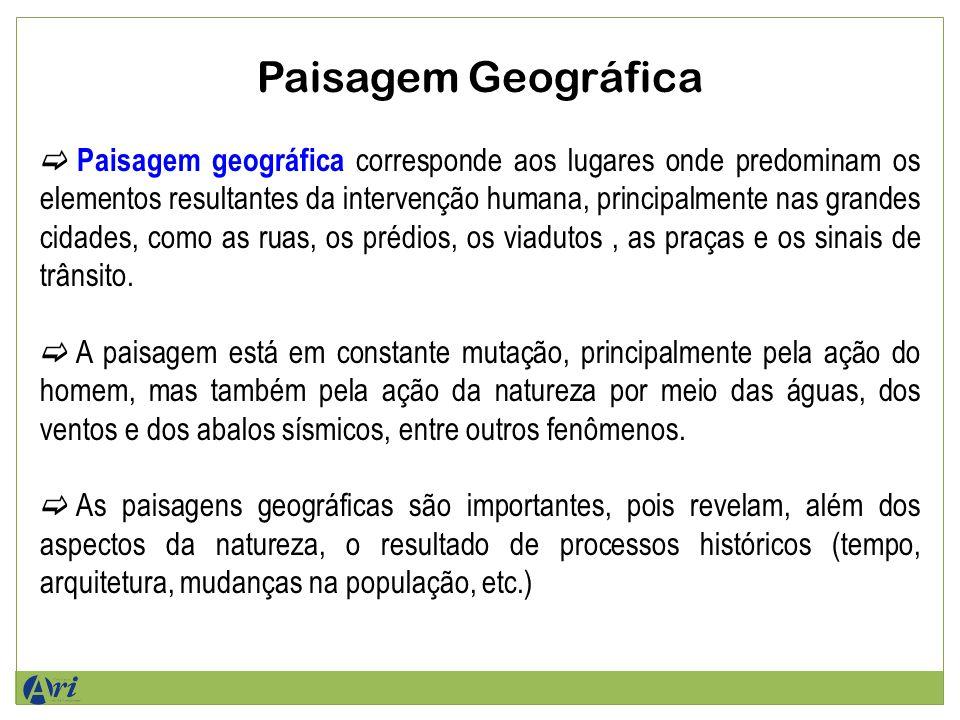 Paisagem Geográfica Paisagem geográfica corresponde aos lugares onde predominam os elementos resultantes da intervenção humana, principalmente nas grandes cidades, como as ruas, os prédios, os viadutos, as praças e os sinais de trânsito.