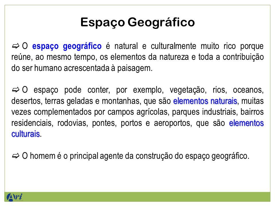 Espaço Geográfico O espaço geográfico é natural e culturalmente muito rico porque reúne, ao mesmo tempo, os elementos da natureza e toda a contribuição do ser humano acrescentada à paisagem.