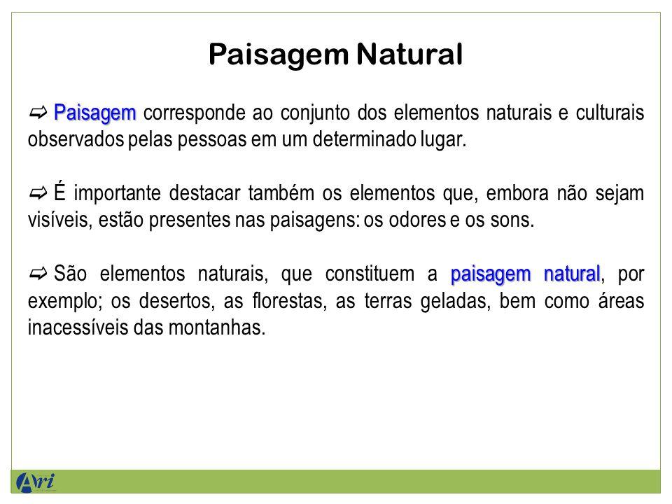 Paisagem Natural Paisagem Paisagem corresponde ao conjunto dos elementos naturais e culturais observados pelas pessoas em um determinado lugar.