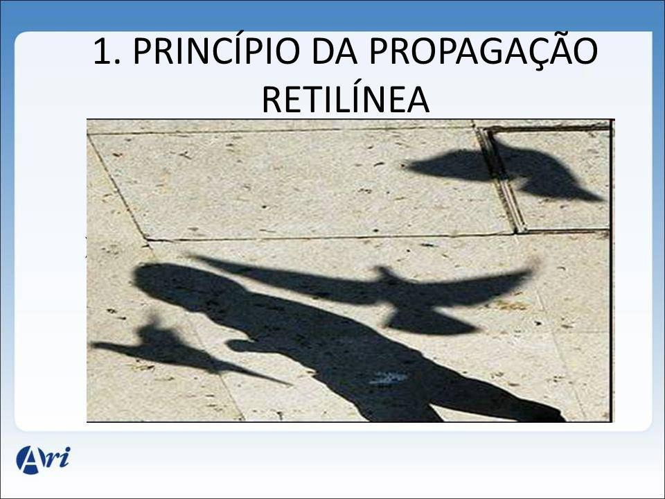 1. PRINCÍPIO DA PROPAGAÇÃO RETILÍNEA Em meios homogêneos e transparentes, a luz se propaga em linha reta. O princípio da propagação retilínea da luz e