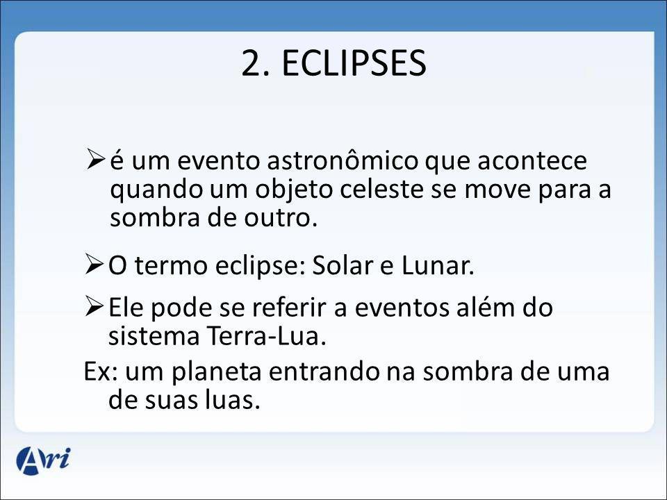 2. ECLIPSES é um evento astronômico que acontece quando um objeto celeste se move para a sombra de outro. O termo eclipse: Solar e Lunar. Ele pode se