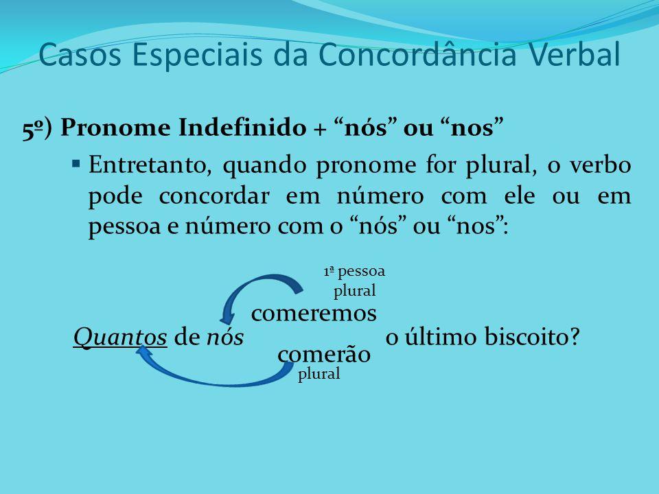 Casos Especiais da Concordância Verbal 5º) Pronome Indefinido + nós ou nos Entretanto, quando pronome for plural, o verbo pode concordar em número com