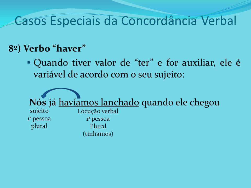 Casos Especiais da Concordância Verbal 8º) Verbo haver Quando tiver valor de ter e for auxiliar, ele é variável de acordo com o seu sujeito: Nós já ha