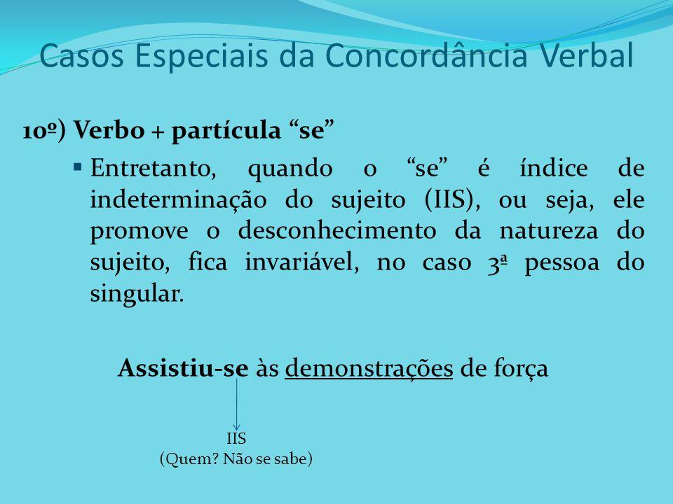 Casos Especiais da Concordância Verbal 10º) Verbo + partícula se Entretanto, quando o se é índice de indeterminação do sujeito (IIS), ou seja, ele pro