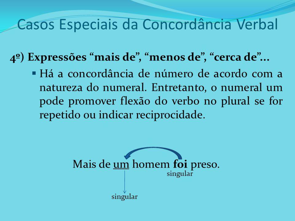 Casos Especiais da Concordância Verbal 4º) Expressões mais de, menos de, cerca de... Há a concordância de número de acordo com a natureza do numeral.