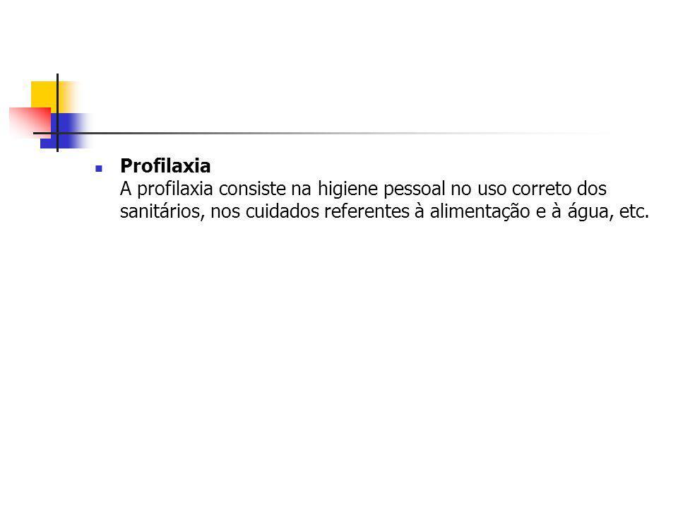 Profilaxia A profilaxia consiste na higiene pessoal no uso correto dos sanitários, nos cuidados referentes à alimentação e à água, etc.