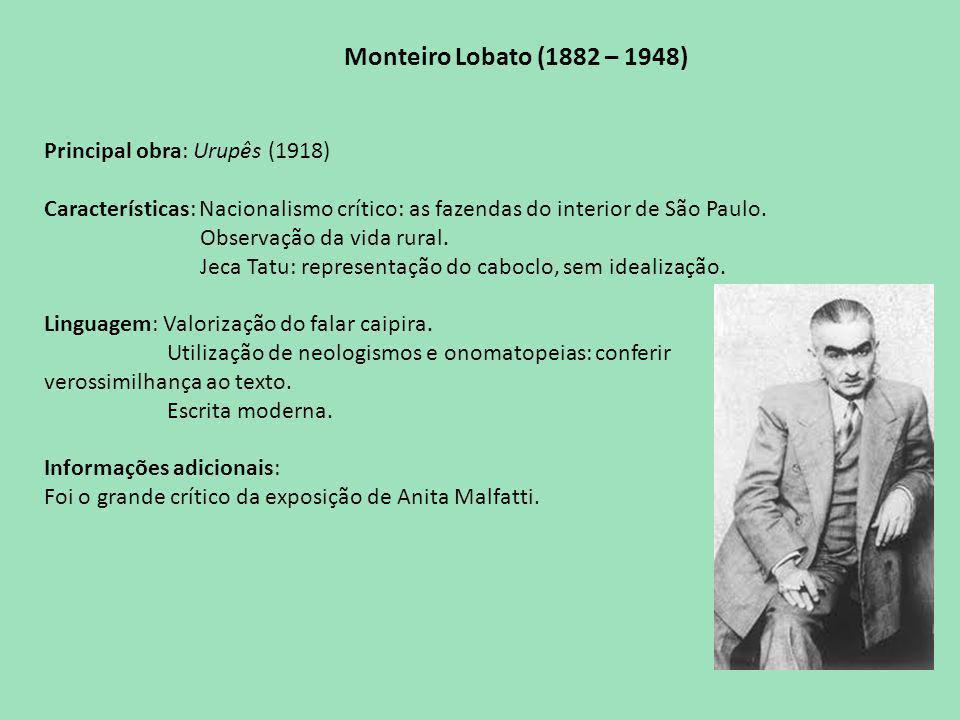 Monteiro Lobato (1882 – 1948) Principal obra: Urupês (1918) Características: Nacionalismo crítico: as fazendas do interior de São Paulo.