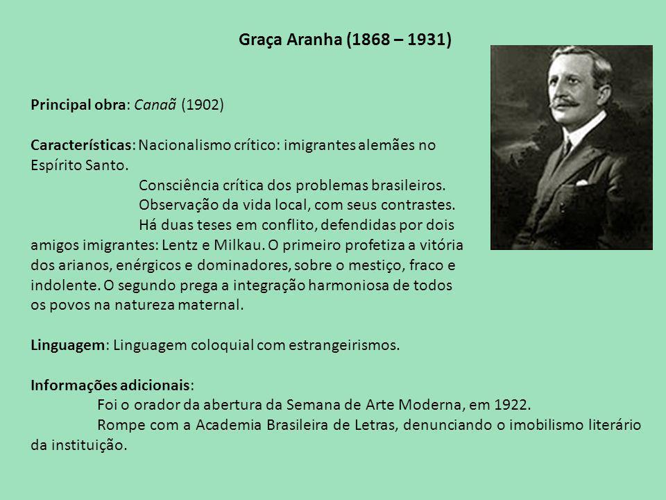 Graça Aranha (1868 – 1931) Principal obra: Canaã (1902) Características: Nacionalismo crítico: imigrantes alemães no Espírito Santo.