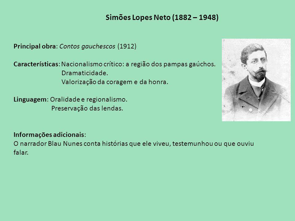 Simões Lopes Neto (1882 – 1948) Principal obra: Contos gauchescos (1912) Características: Nacionalismo crítico: a região dos pampas gaúchos.