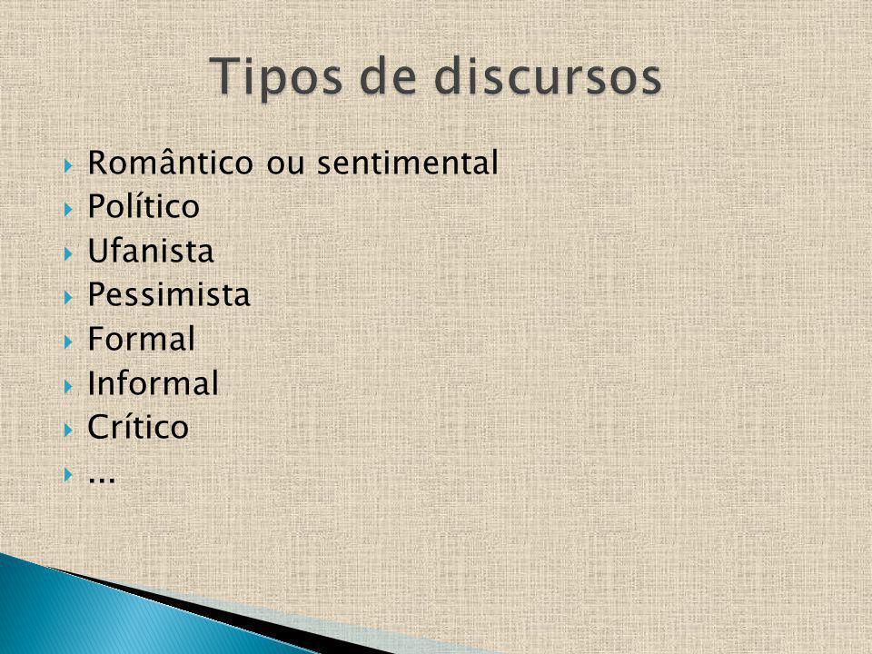 Romântico ou sentimental Político Ufanista Pessimista Formal Informal Crítico...