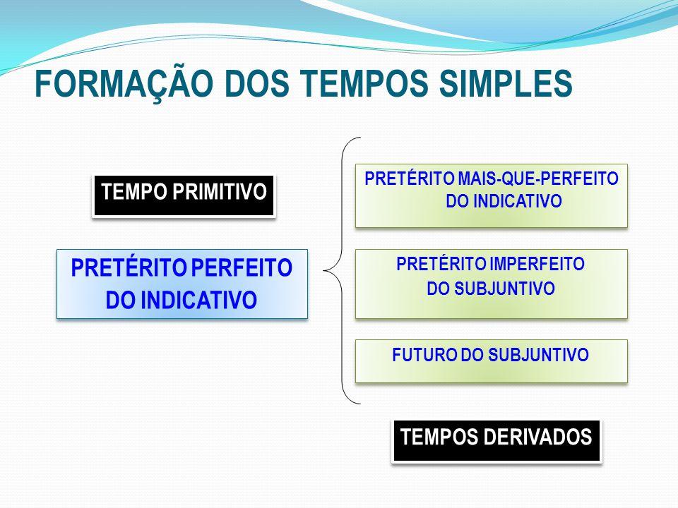 FORMAÇÃO DOS TEMPOS SIMPLES PRETÉRITO PERFEITO DO INDICATIVO PRETÉRITO PERFEITO DO INDICATIVO PRETÉRITO MAIS-QUE-PERFEITO DO INDICATIVO PRETÉRITO IMPERFEITO DO SUBJUNTIVO PRETÉRITO IMPERFEITO DO SUBJUNTIVO FUTURO DO SUBJUNTIVO TEMPO PRIMITIVO TEMPOS DERIVADOS