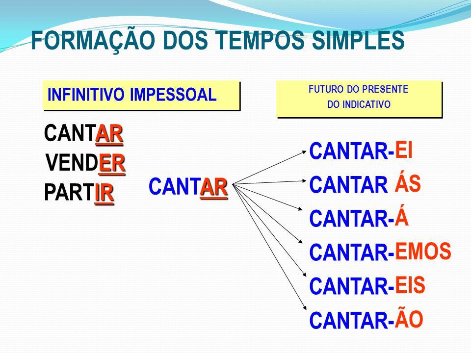 FORMAÇÃO DOS TEMPOS SIMPLES INFINITIVO IMPESSOAL AR CANTAR FUTURO DO PRESENTE DO INDICATIVO FUTURO DO PRESENTE DO INDICATIVO CANTAR- CANTAR CANTAR- EI