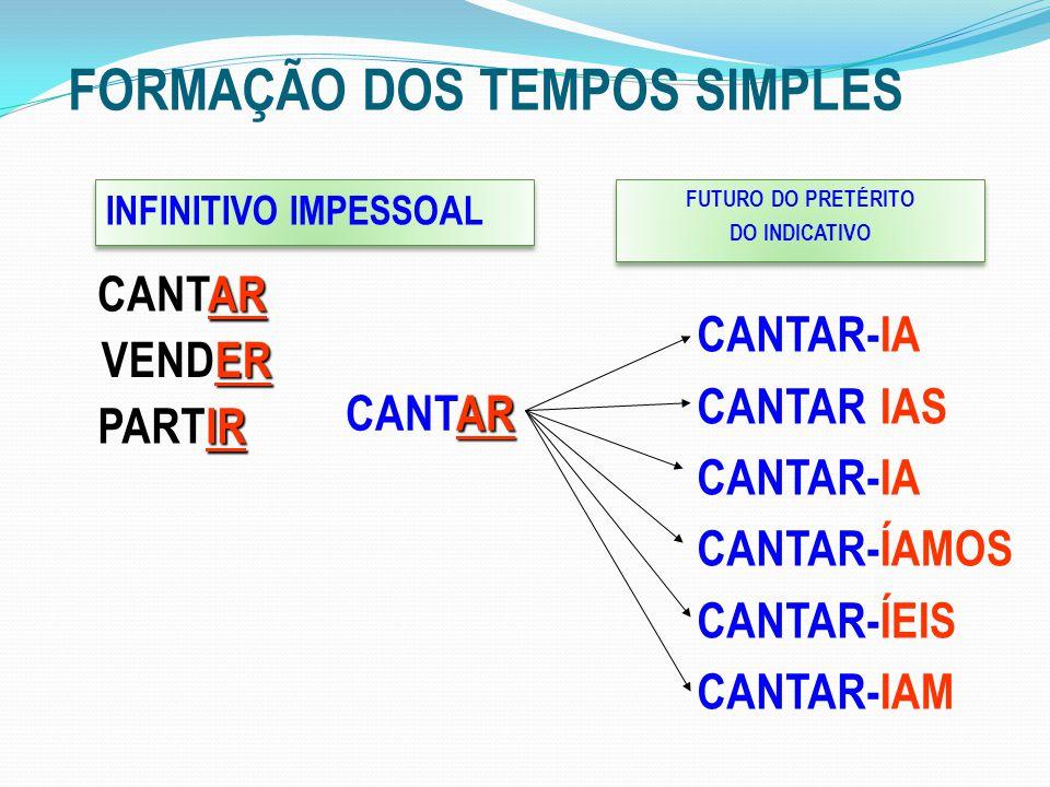 FORMAÇÃO DOS TEMPOS SIMPLES INFINITIVO IMPESSOAL AR CANTAR FUTURO DO PRETÉRITO DO INDICATIVO FUTURO DO PRETÉRITO DO INDICATIVO CANTAR- CANTAR CANTAR-