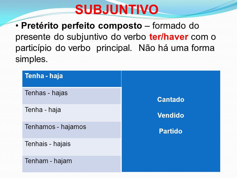 Pretérito perfeito composto – formado do presente do subjuntivo do verbo ter/haver com o particípio do verbo principal.