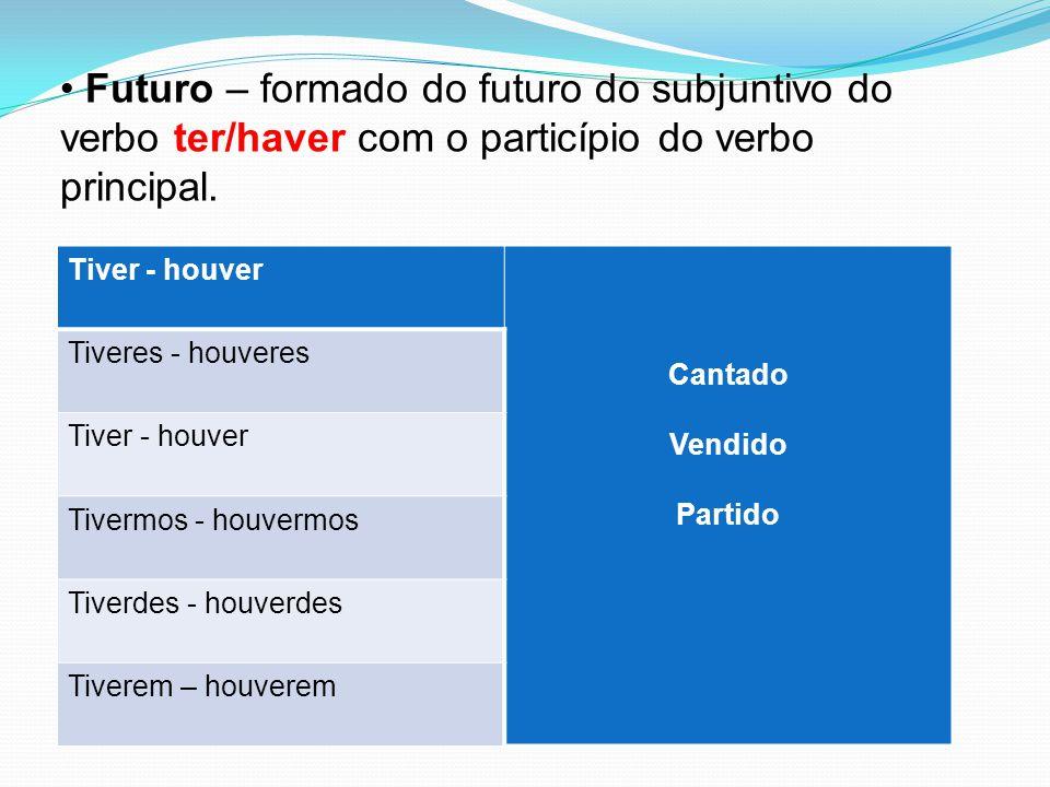 Futuro – formado do futuro do subjuntivo do verbo ter/haver com o particípio do verbo principal. Tiver - houver Cantado Vendido Partido Tiveres - houv