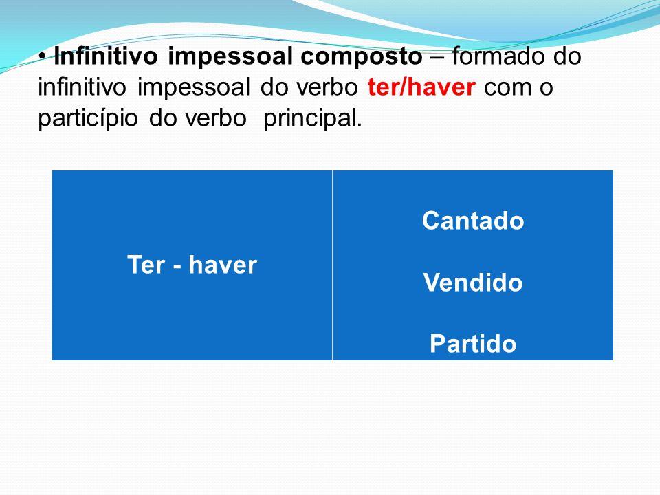 Infinitivo impessoal composto – formado do infinitivo impessoal do verbo ter/haver com o particípio do verbo principal. Ter - haver Cantado Vendido Pa