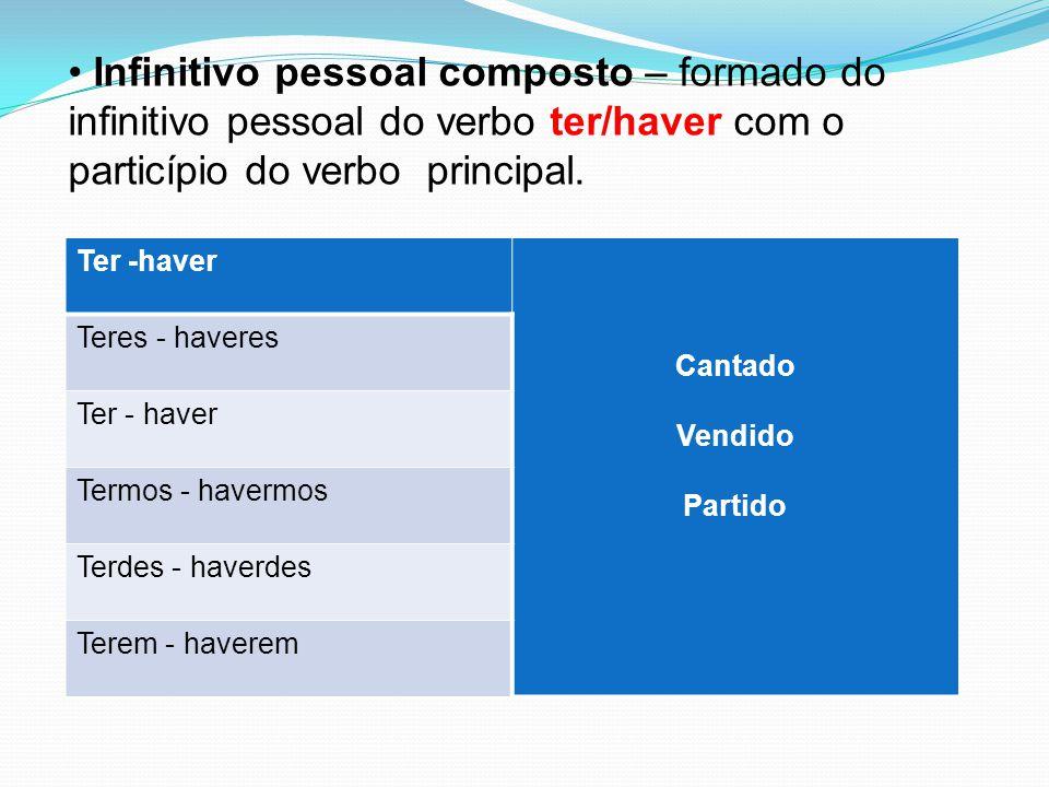 Infinitivo pessoal composto – formado do infinitivo pessoal do verbo ter/haver com o particípio do verbo principal. Ter -haver Cantado Vendido Partido