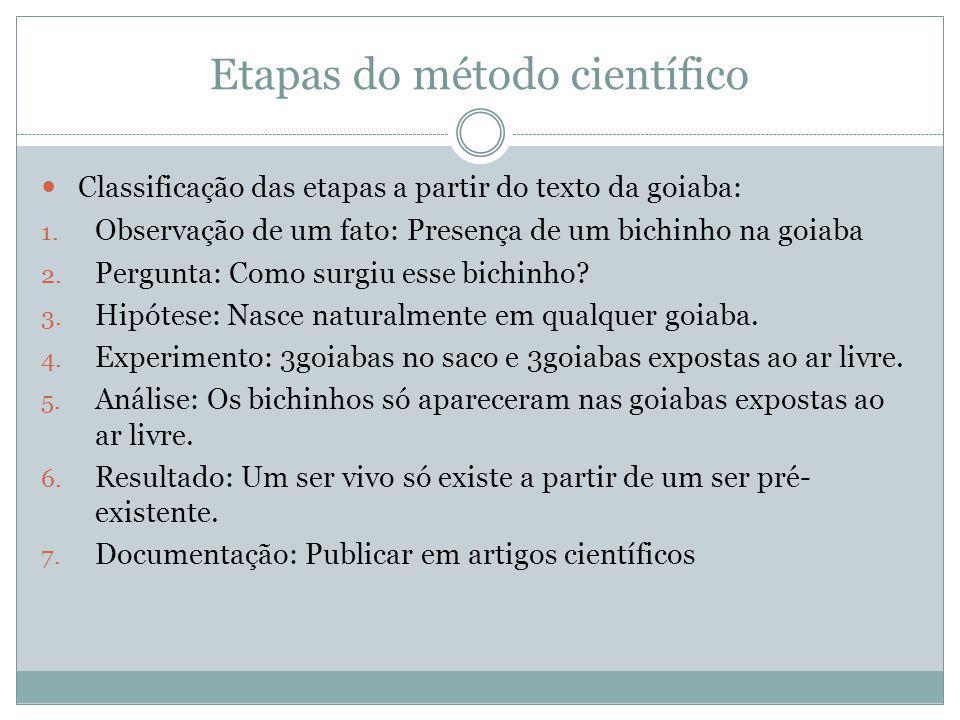 Etapas do método científico Classificação das etapas a partir do texto da goiaba: 1. Observação de um fato: Presença de um bichinho na goiaba 2. Pergu