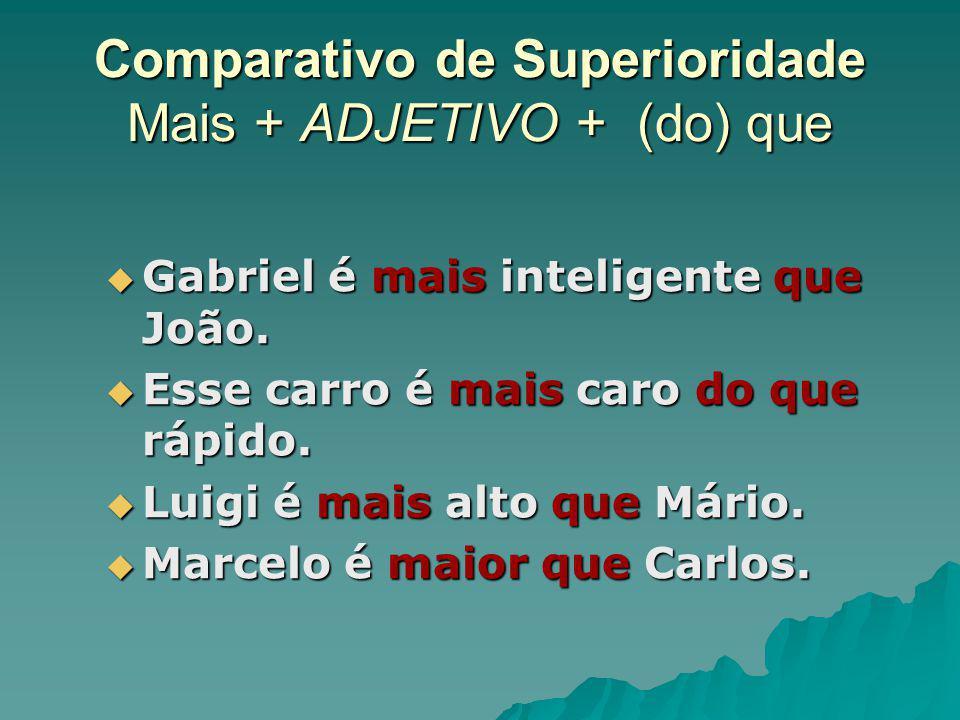 Comparativo de Superioridade Mais + ADJETIVO + (do) que Gabriel é mais inteligente que João. Gabriel é mais inteligente que João. Esse carro é mais ca