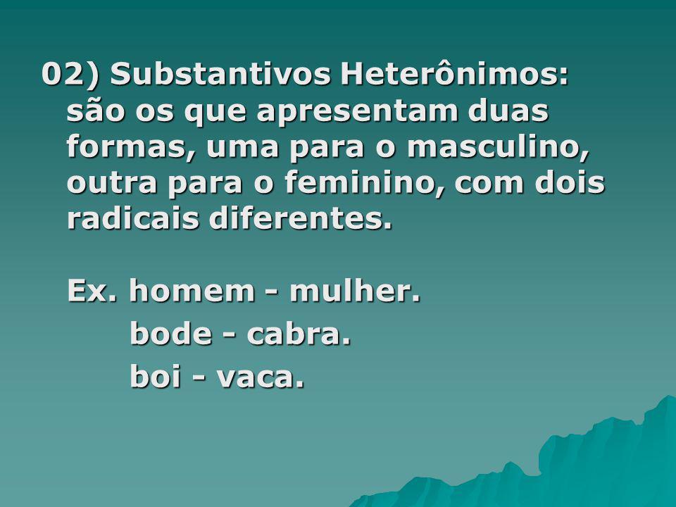 02) Substantivos Heterônimos: são os que apresentam duas formas, uma para o masculino, outra para o feminino, com dois radicais diferentes. Ex. homem