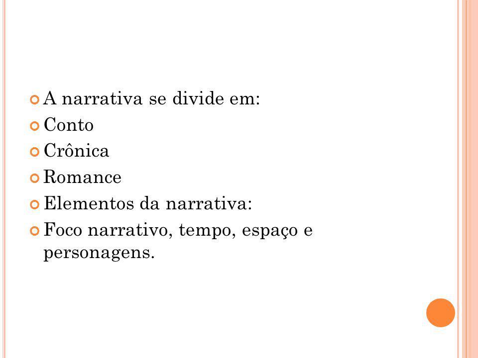 A narrativa se divide em: Conto Crônica Romance Elementos da narrativa: Foco narrativo, tempo, espaço e personagens.