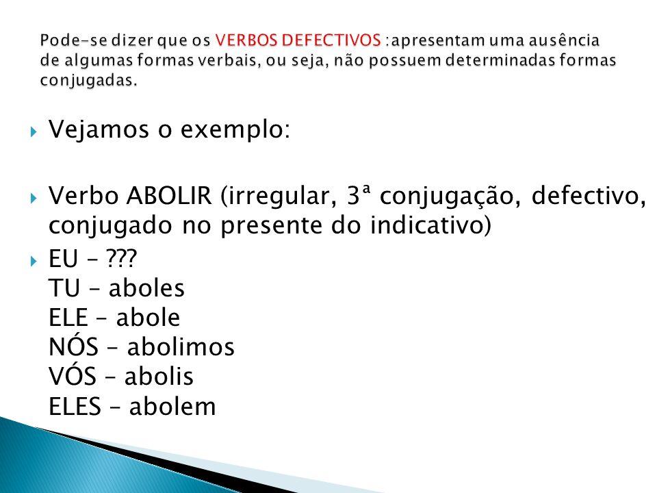 Vejamos o exemplo: Verbo ABOLIR (irregular, 3ª conjugação, defectivo, conjugado no presente do indicativo) EU – ??.