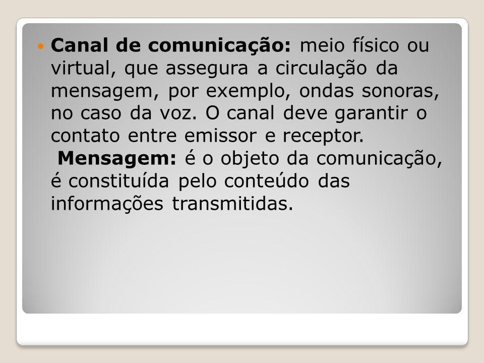Canal de comunicação: meio físico ou virtual, que assegura a circulação da mensagem, por exemplo, ondas sonoras, no caso da voz. O canal deve garantir