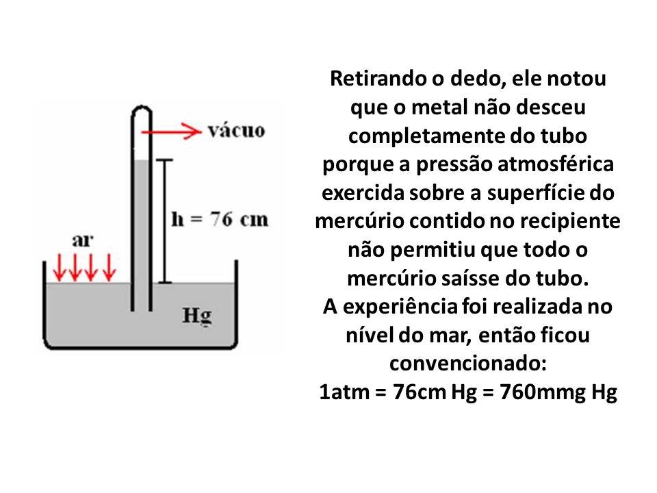 Retirando o dedo, ele notou que o metal não desceu completamente do tubo porque a pressão atmosférica exercida sobre a superfície do mercúrio contido