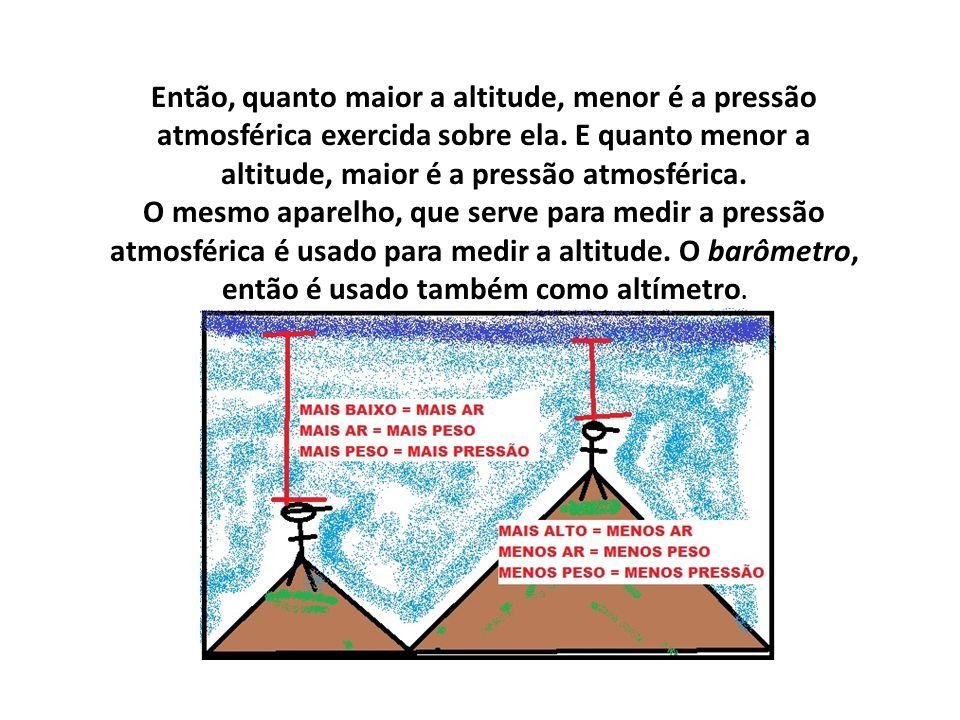 Então, quanto maior a altitude, menor é a pressão atmosférica exercida sobre ela. E quanto menor a altitude, maior é a pressão atmosférica. O mesmo ap