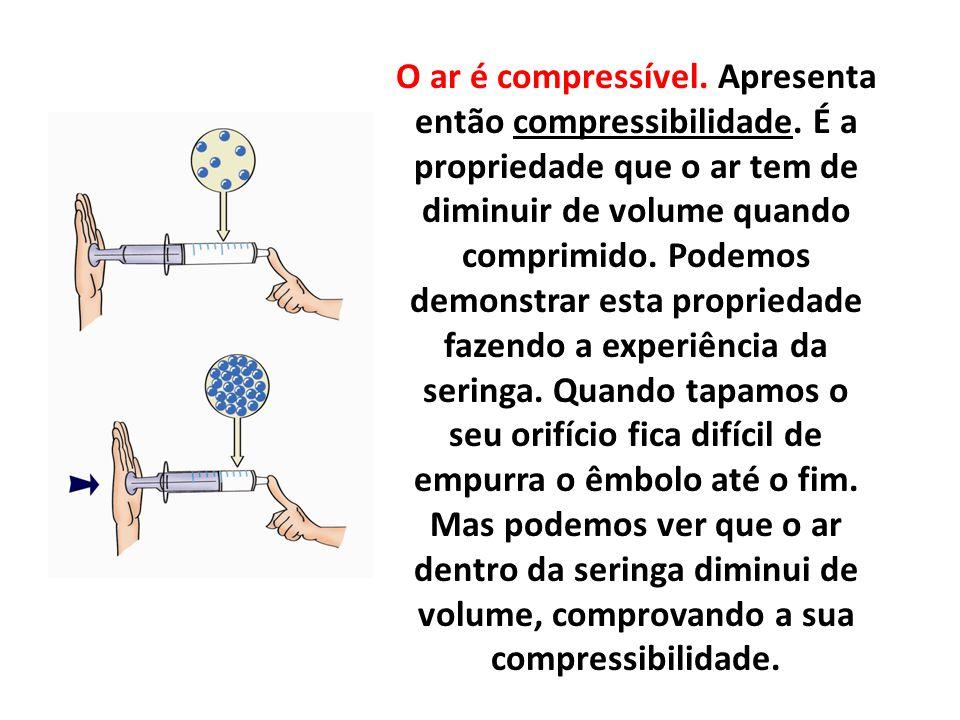 O ar é compressível. Apresenta então compressibilidade. É a propriedade que o ar tem de diminuir de volume quando comprimido. Podemos demonstrar esta