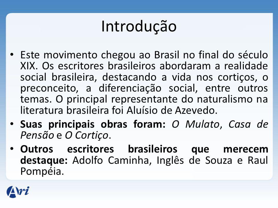 Introdução Este movimento chegou ao Brasil no final do século XIX. Os escritores brasileiros abordaram a realidade social brasileira, destacando a vid